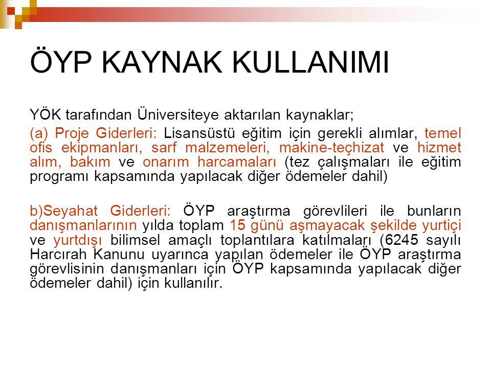 ÖYP KAYNAK KULLANIMI YÖK tarafından Üniversiteye aktarılan kaynaklar;