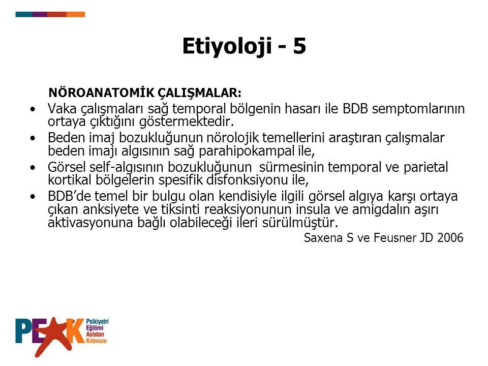 Etiyoloji - 5 NÖROANATOMİK ÇALIŞMALAR: Vaka çalışmaları sağ temporal bölgenin hasarı ile BDB semptomlarının ortaya çıktığını göstermektedir.