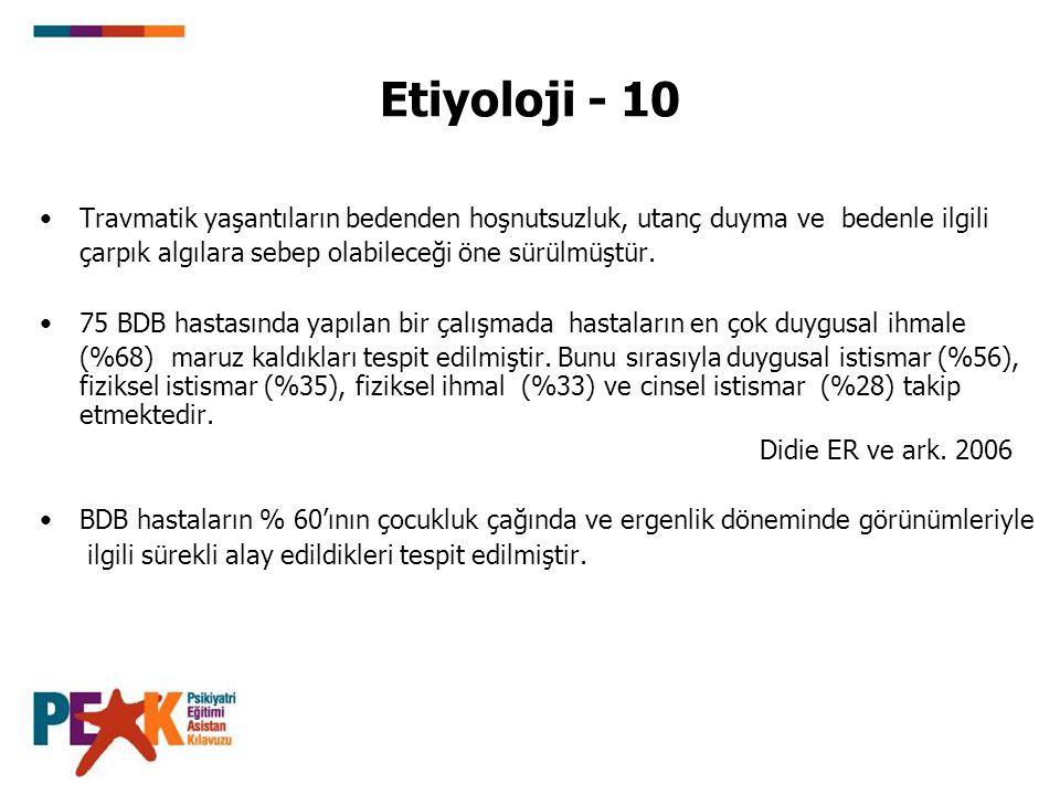 Etiyoloji - 10 Travmatik yaşantıların bedenden hoşnutsuzluk, utanç duyma ve bedenle ilgili. çarpık algılara sebep olabileceği öne sürülmüştür.