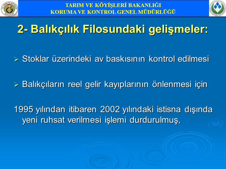 2- Balıkçılık Filosundaki gelişmeler: