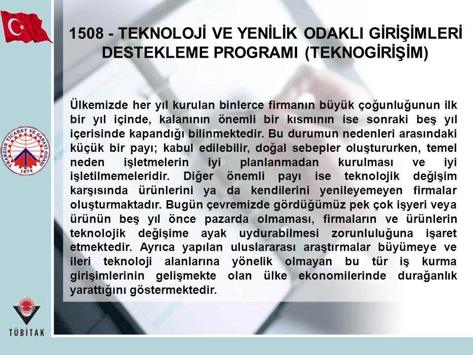 1508 - TEKNOLOJİ VE YENİLİK ODAKLI GİRİŞİMLERİ DESTEKLEME PROGRAMI (TEKNOGİRİŞİM)