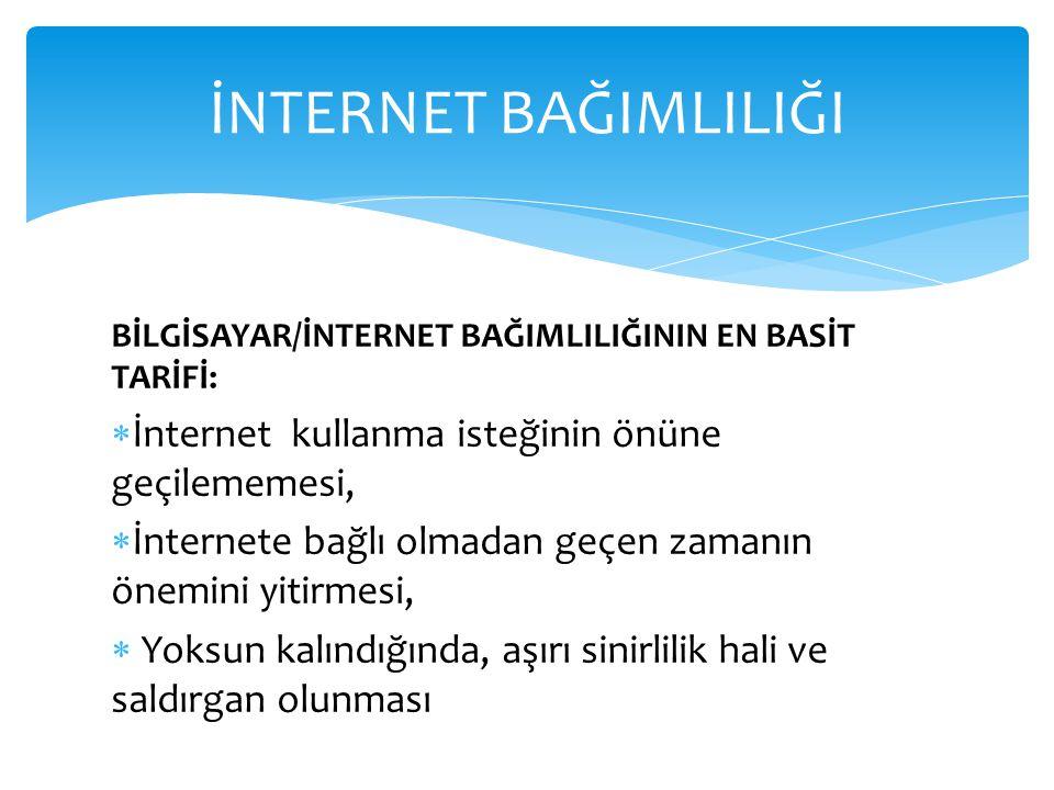 İNTERNET BAĞIMLILIĞI İnternet kullanma isteğinin önüne geçilememesi,