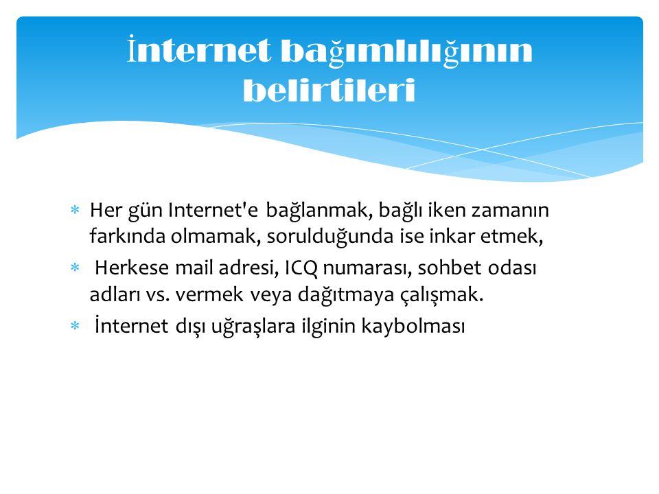 İnternet bağımlılığının belirtileri