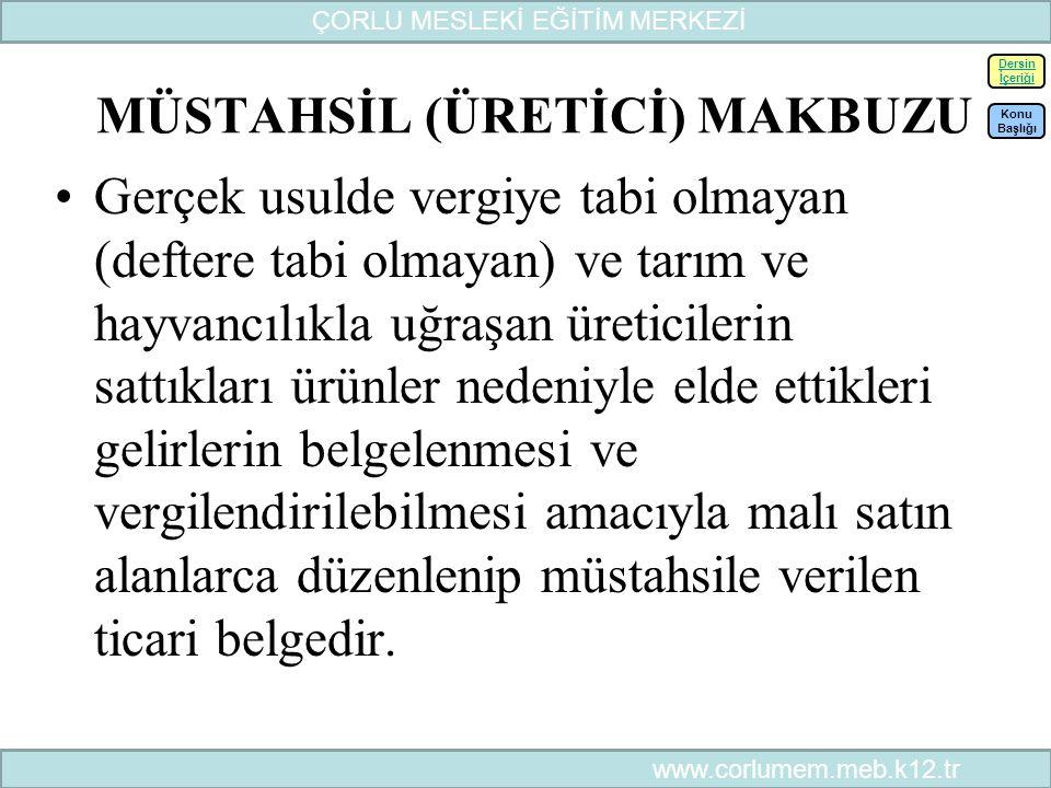 MÜSTAHSİL (ÜRETİCİ) MAKBUZU
