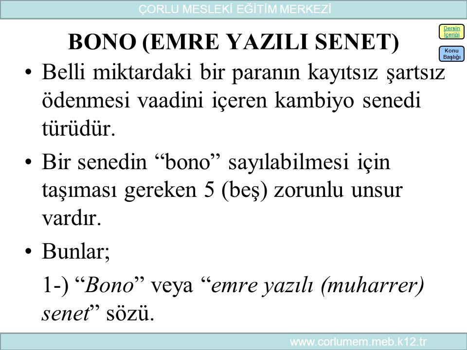 BONO (EMRE YAZILI SENET)