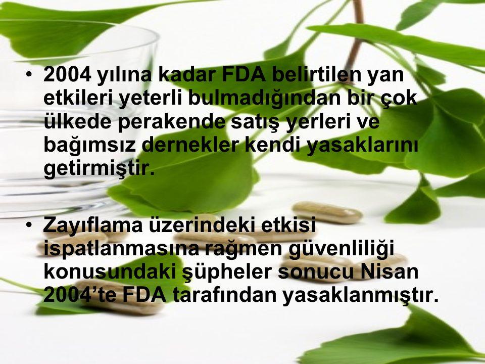 2004 yılına kadar FDA belirtilen yan etkileri yeterli bulmadığından bir çok ülkede perakende satış yerleri ve bağımsız dernekler kendi yasaklarını getirmiştir.