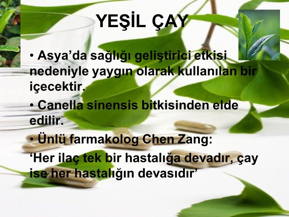 YEŞİL ÇAY Asya'da sağlığı geliştirici etkisi nedeniyle yaygın olarak kullanılan bir içecektir. Canella sinensis bitkisinden elde edilir.