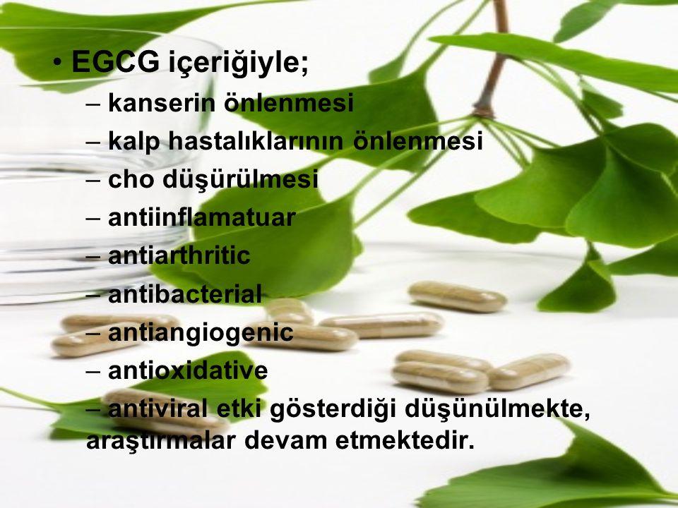 EGCG içeriğiyle; kanserin önlenmesi kalp hastalıklarının önlenmesi