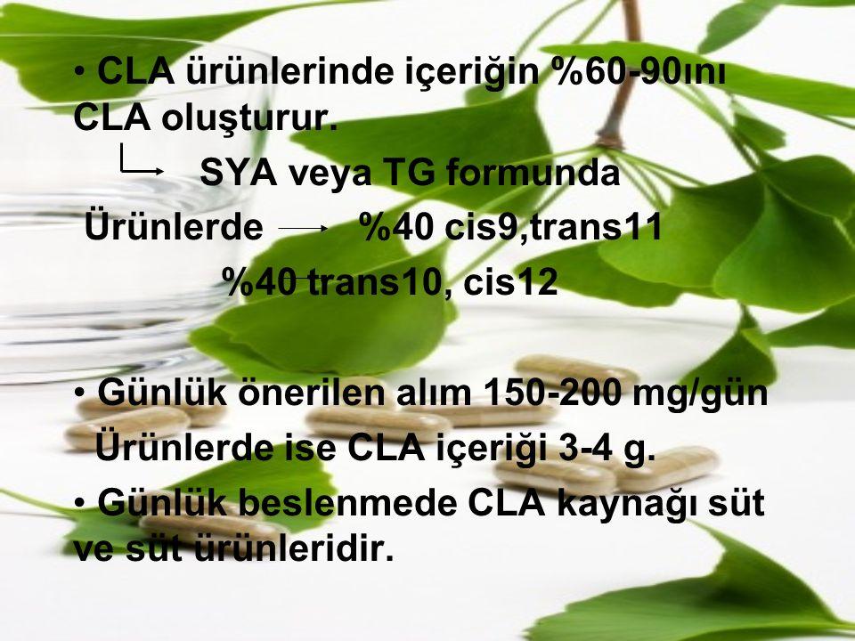 CLA ürünlerinde içeriğin %60-90ını CLA oluşturur.