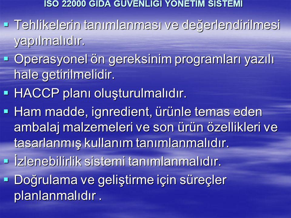 ISO 22000 GIDA GÜVENLİĞİ YÖNETİM SİSTEMİ