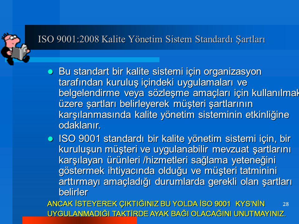 ISO 9001:2008 Kalite Yönetim Sistem Standardı Şartları