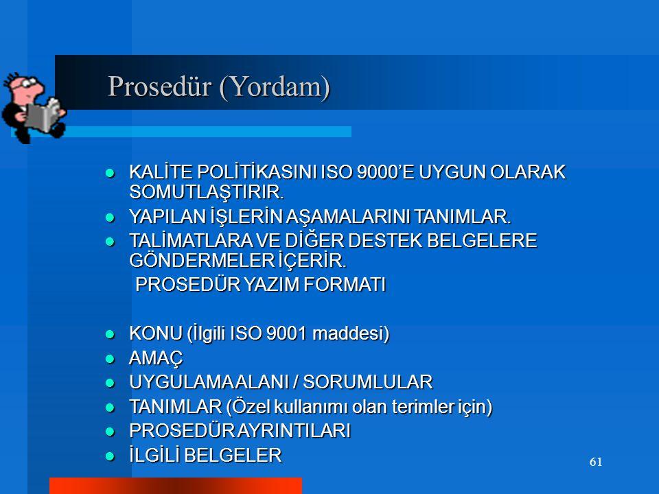 Prosedür (Yordam) KALİTE POLİTİKASINI ISO 9000'E UYGUN OLARAK SOMUTLAŞTIRIR. YAPILAN İŞLERİN AŞAMALARINI TANIMLAR.