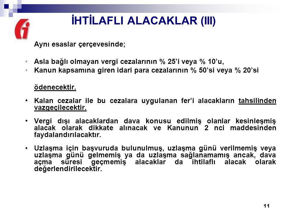 İHTİLAFLI ALACAKLAR (III)