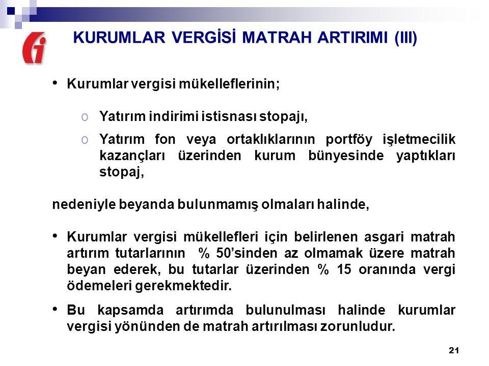 KURUMLAR VERGİSİ MATRAH ARTIRIMI (III)