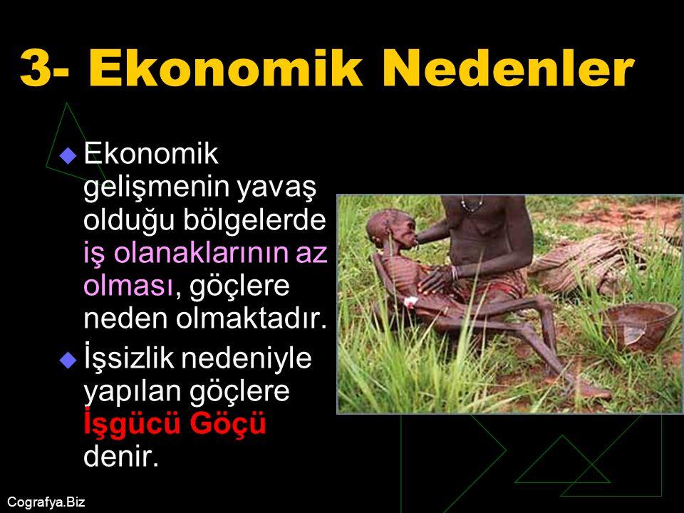 3- Ekonomik Nedenler Ekonomik gelişmenin yavaş olduğu bölgelerde iş olanaklarının az olması, göçlere neden olmaktadır.