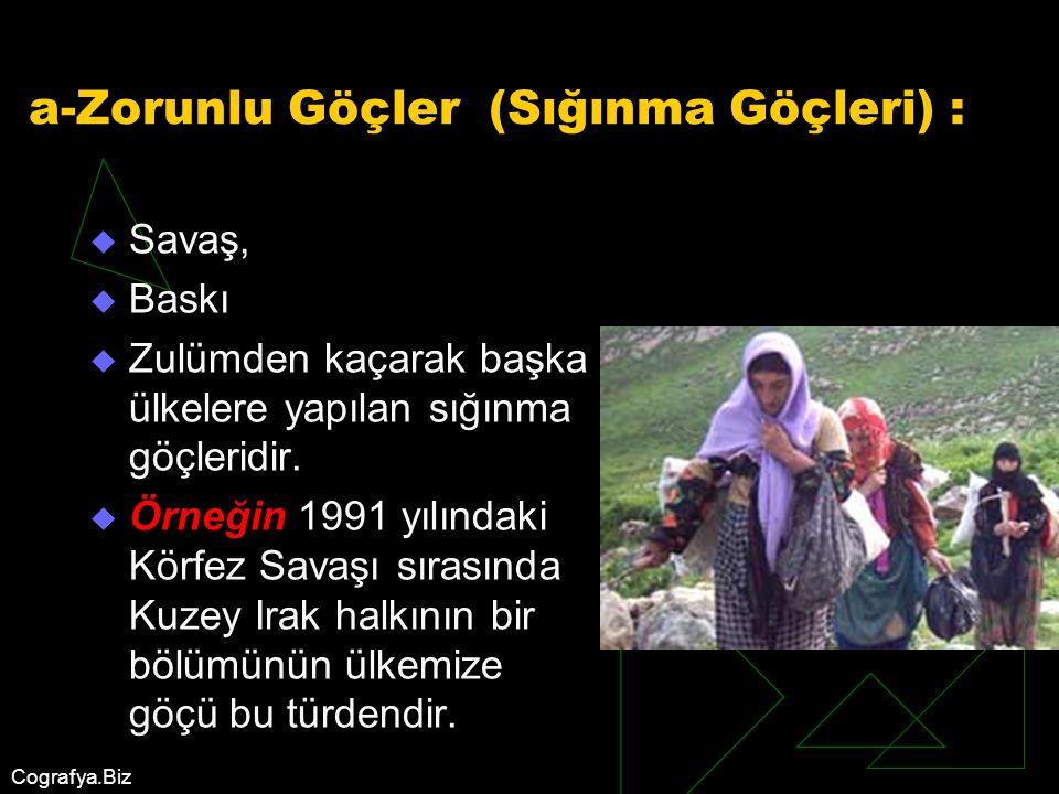 a-Zorunlu Göçler (Sığınma Göçleri) :