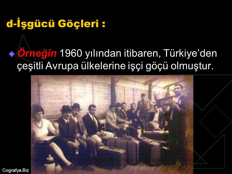 d-İşgücü Göçleri : Örneğin 1960 yılından itibaren, Türkiye'den çeşitli Avrupa ülkelerine işçi göçü olmuştur.
