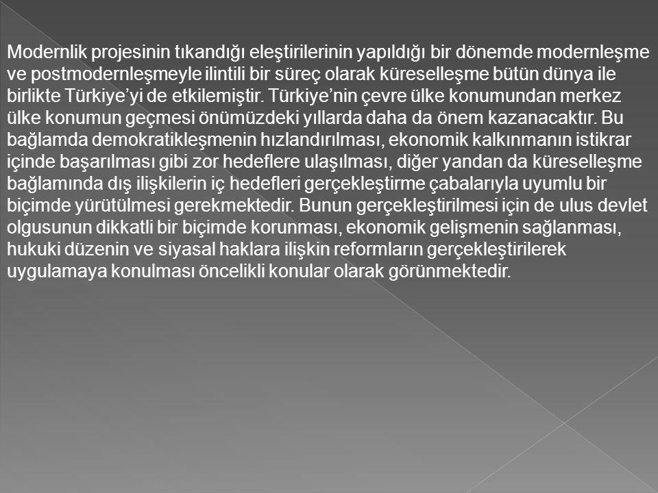 Modernlik projesinin tıkandığı eleştirilerinin yapıldığı bir dönemde modernleşme ve postmodernleşmeyle ilintili bir süreç olarak küreselleşme bütün dünya ile birlikte Türkiye'yi de etkilemiştir.