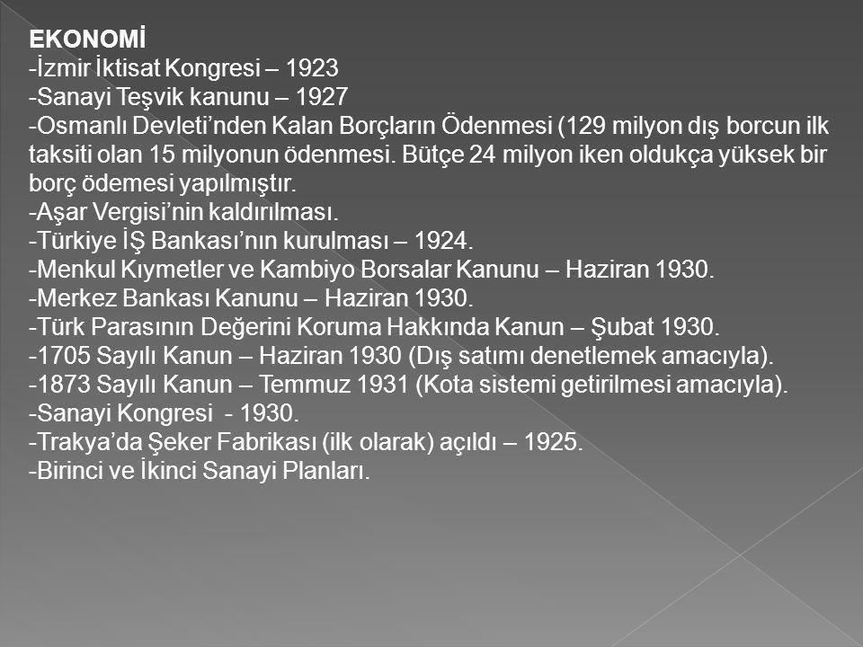 EKONOMİ -İzmir İktisat Kongresi – 1923. -Sanayi Teşvik kanunu – 1927.