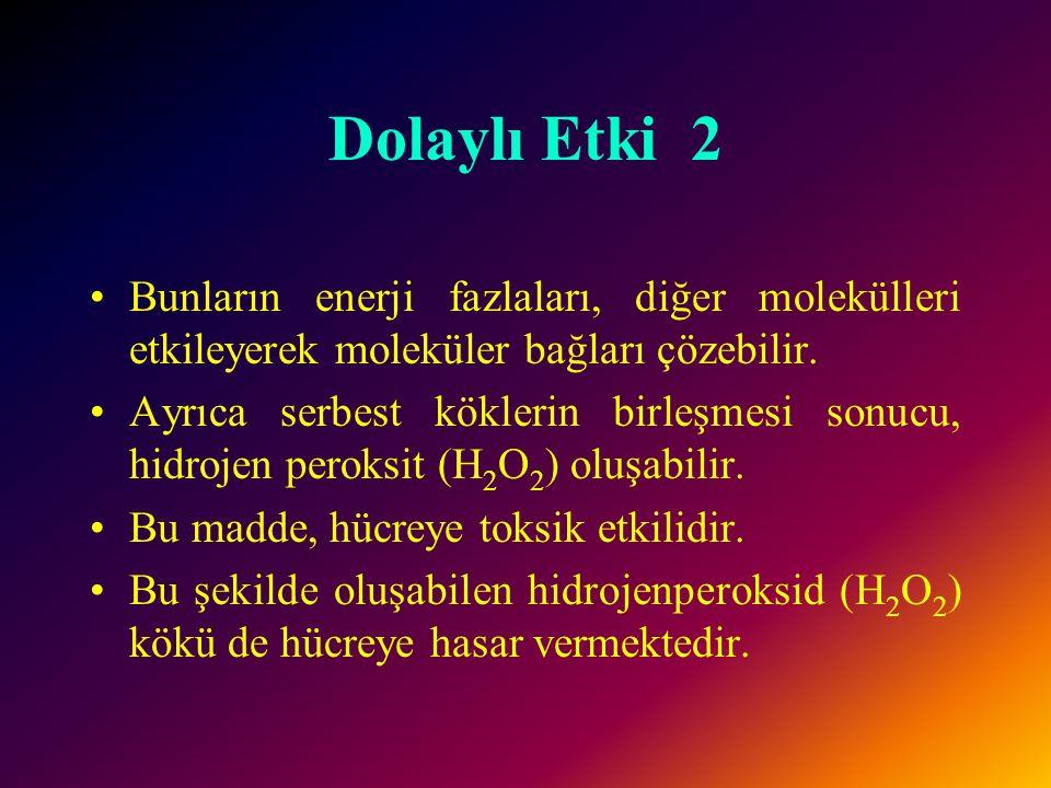 Dolaylı Etki 2 Bunların enerji fazlaları, diğer molekülleri etkileyerek moleküler bağları çözebilir.
