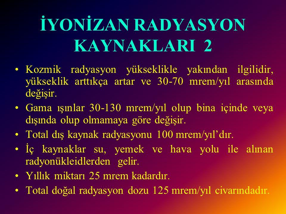 İYONİZAN RADYASYON KAYNAKLARI 2