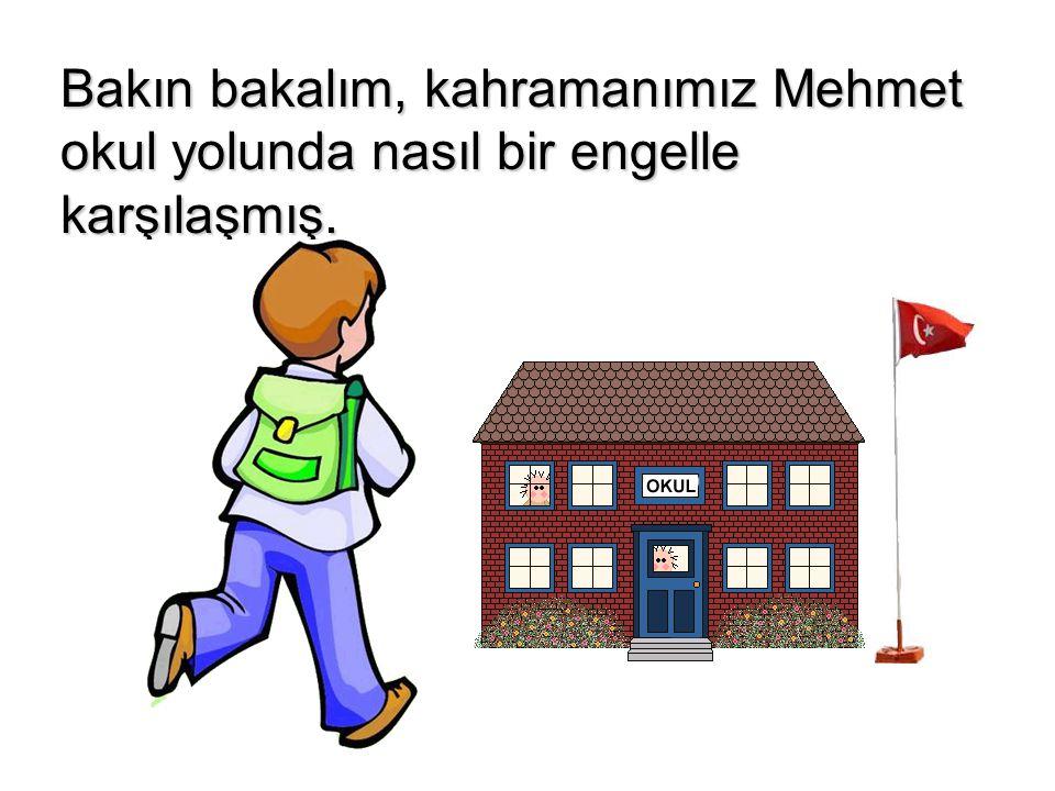 Bakın bakalım, kahramanımız Mehmet okul yolunda nasıl bir engelle karşılaşmış.