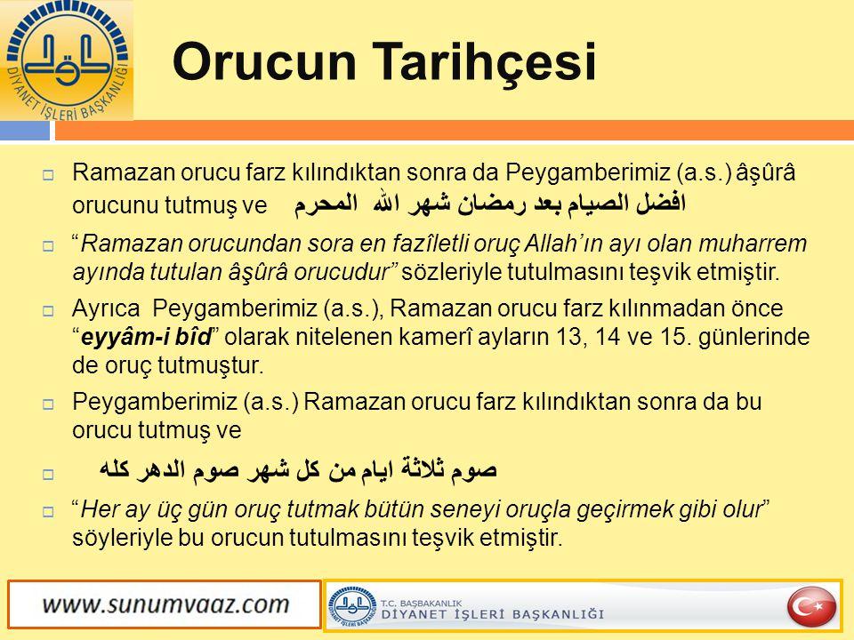 Orucun Tarihçesi Ramazan orucu farz kılındıktan sonra da Peygamberimiz (a.s.) âşûrâ orucunu tutmuş ve افضل الصيام بعد رمضان شهر الله المحرم