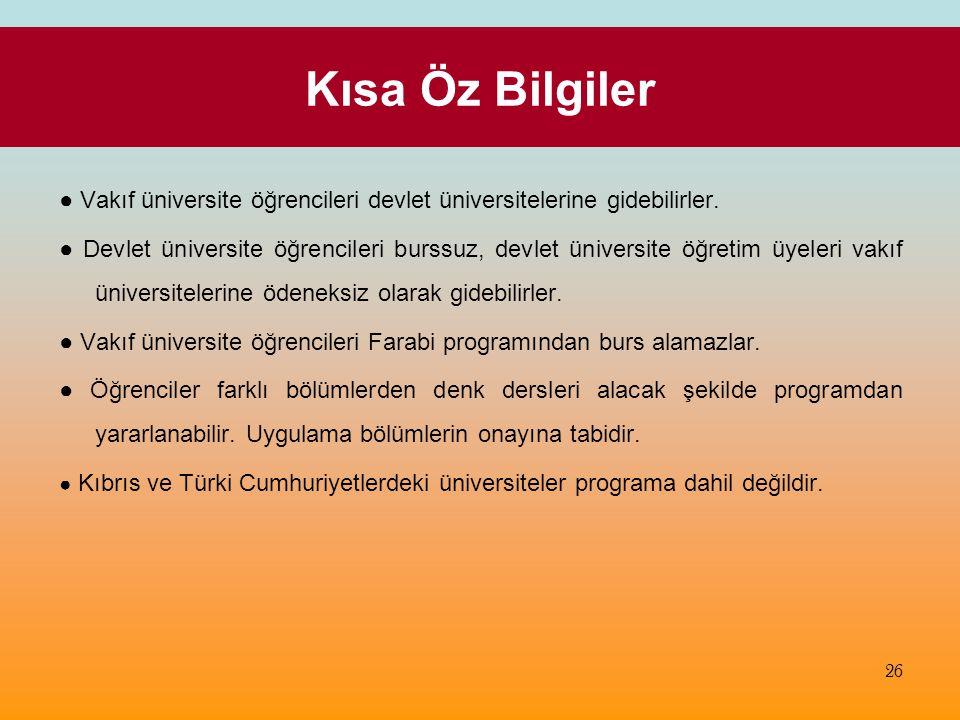Kısa Öz Bilgiler ● Vakıf üniversite öğrencileri devlet üniversitelerine gidebilirler.