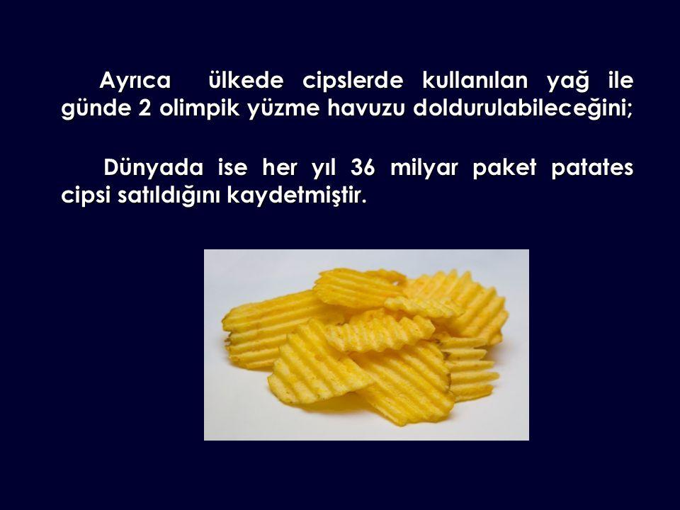 Ayrıca ülkede cipslerde kullanılan yağ ile günde 2 olimpik yüzme havuzu doldurulabileceğini; Dünyada ise her yıl 36 milyar paket patates cipsi satıldığını kaydetmiştir.