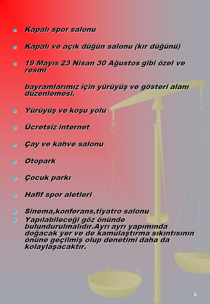 Kapalı spor salonu Kapalı ve açık düğün salonu (kır düğünü) 19 Mayıs 23 Nisan 30 Ağustos gibi özel ve resmi.