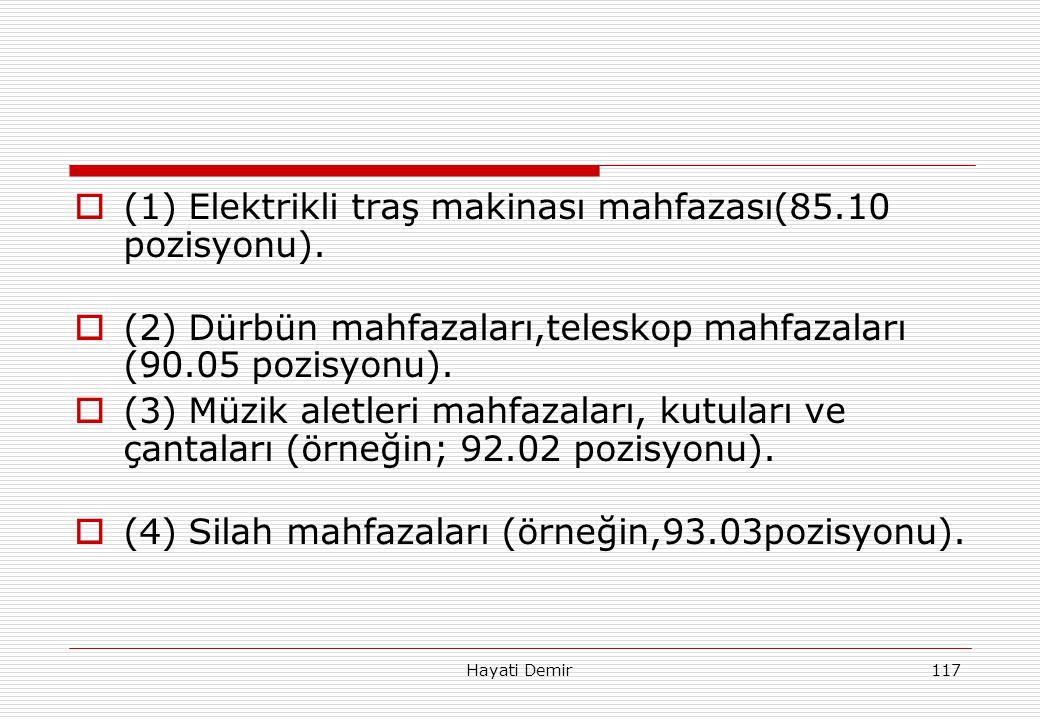 (1) Elektrikli traş makinası mahfazası(85.10 pozisyonu).