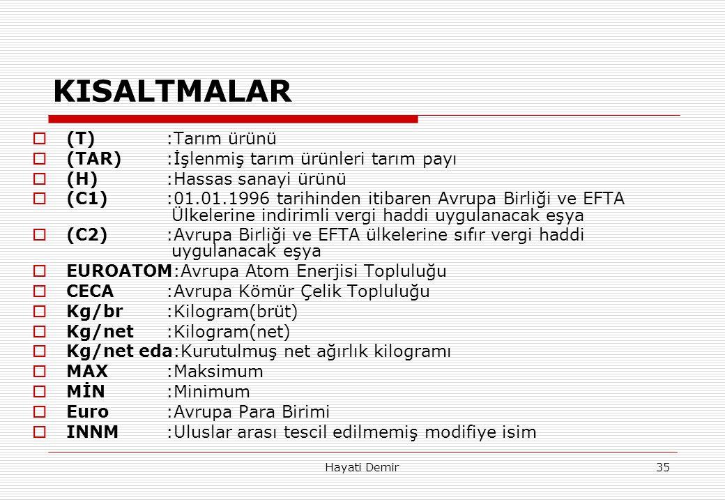 KISALTMALAR (T) :Tarım ürünü (TAR) :İşlenmiş tarım ürünleri tarım payı