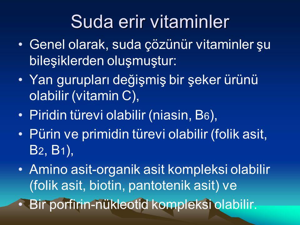 Suda erir vitaminler Genel olarak, suda çözünür vitaminler şu bileşiklerden oluşmuştur: Yan gurupları değişmiş bir şeker ürünü olabilir (vitamin C),