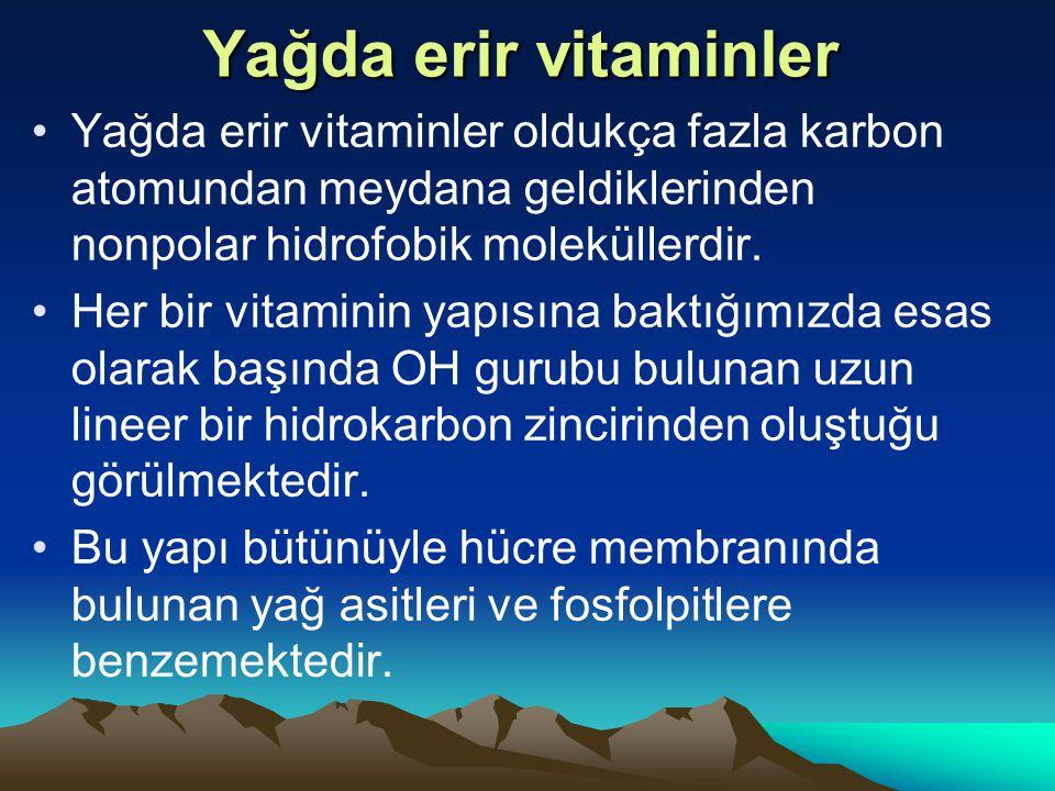 Yağda erir vitaminler Yağda erir vitaminler oldukça fazla karbon atomundan meydana geldiklerinden nonpolar hidrofobik moleküllerdir.