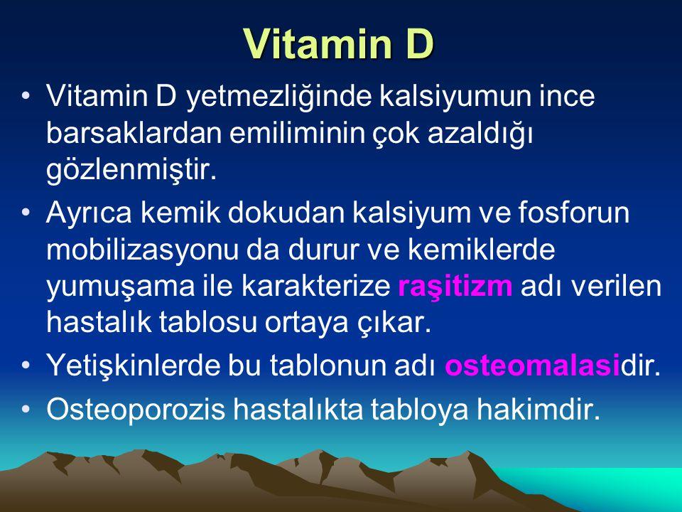 Vitamin D Vitamin D yetmezliğinde kalsiyumun ince barsaklardan emiliminin çok azaldığı gözlenmiştir.