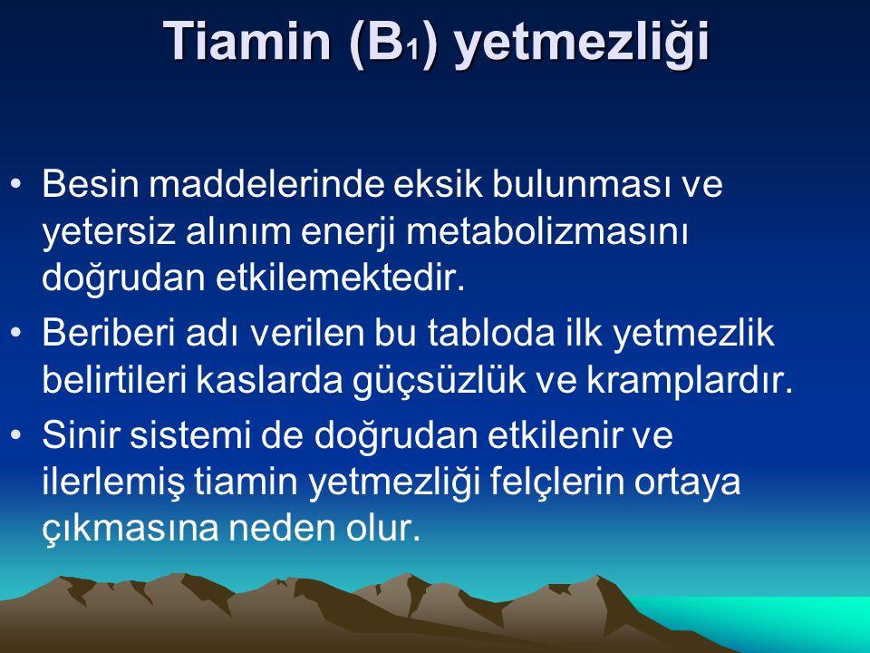 Tiamin (B1) yetmezliği Besin maddelerinde eksik bulunması ve yetersiz alınım enerji metabolizmasını doğrudan etkilemektedir.
