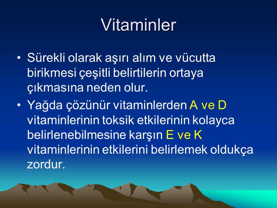 Vitaminler Sürekli olarak aşırı alım ve vücutta birikmesi çeşitli belirtilerin ortaya çıkmasına neden olur.