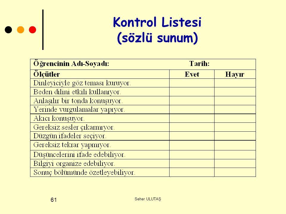 Kontrol Listesi (sözlü sunum)