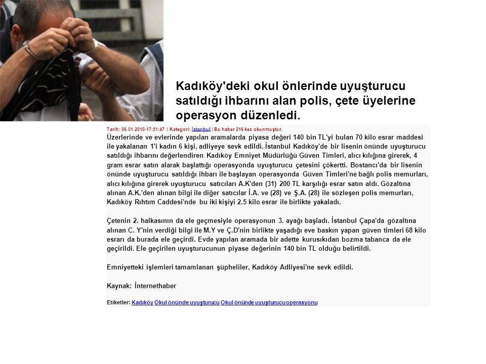 Kadıköy deki okul önlerinde uyuşturucu satıldığı ihbarını alan polis, çete üyelerine operasyon düzenledi.