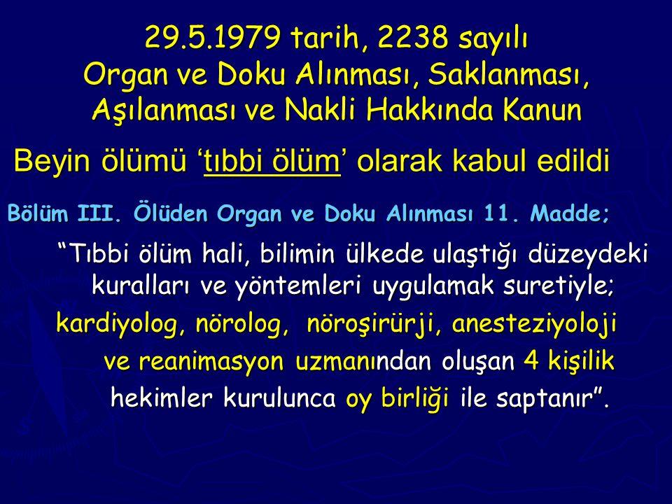 29.5.1979 tarih, 2238 sayılı Organ ve Doku Alınması, Saklanması, Aşılanması ve Nakli Hakkında Kanun