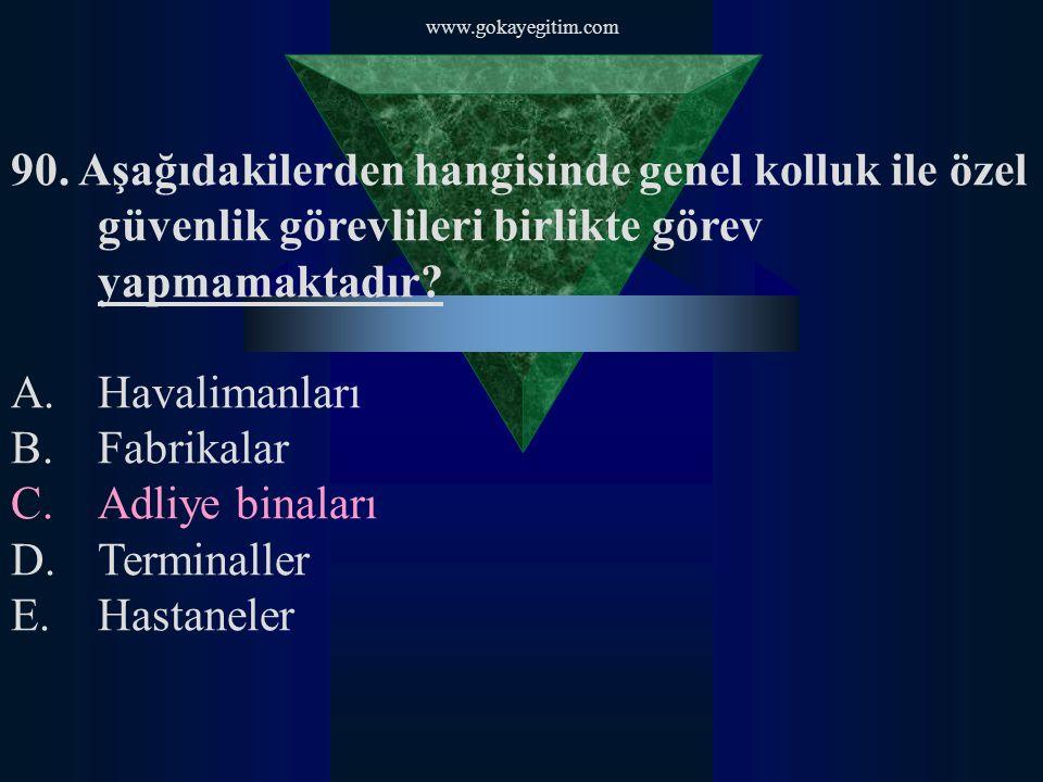 www.gokayegitim.com 90. Aşağıdakilerden hangisinde genel kolluk ile özel güvenlik görevlileri birlikte görev yapmamaktadır