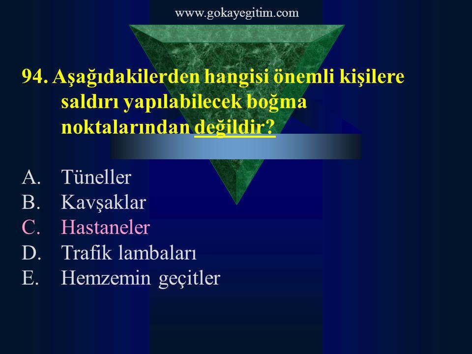 www.gokayegitim.com 94. Aşağıdakilerden hangisi önemli kişilere saldırı yapılabilecek boğma noktalarından değildir