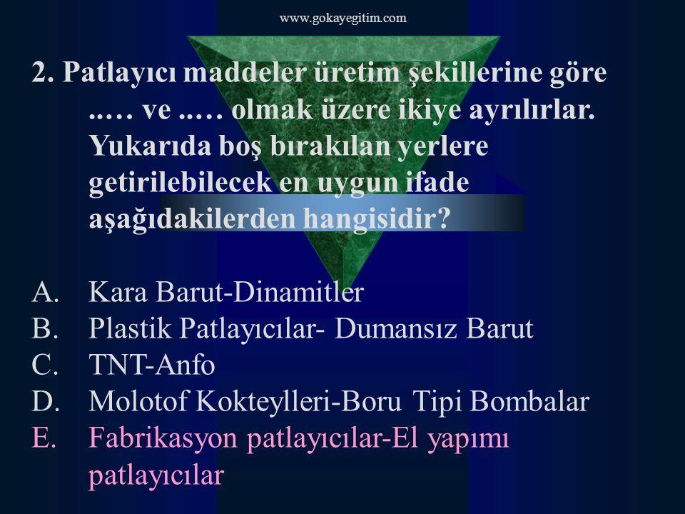 Kara Barut-Dinamitler Plastik Patlayıcılar- Dumansız Barut TNT-Anfo