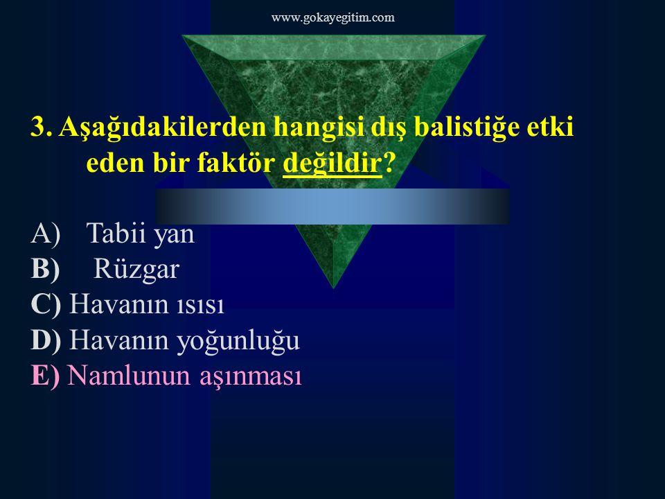 www.gokayegitim.com 3. Aşağıdakilerden hangisi dış balistiğe etki eden bir faktör değildir Tabii yan.