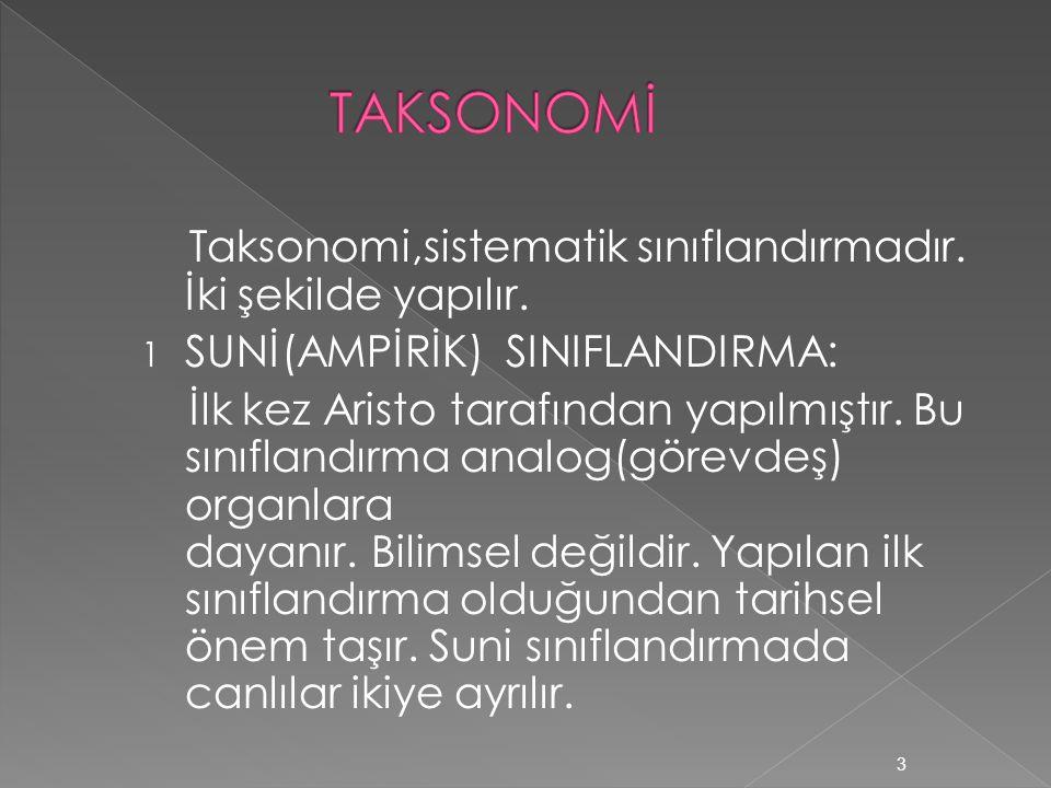 Taksonomi,sistematik sınıflandırmadır. İki şekilde yapılır.