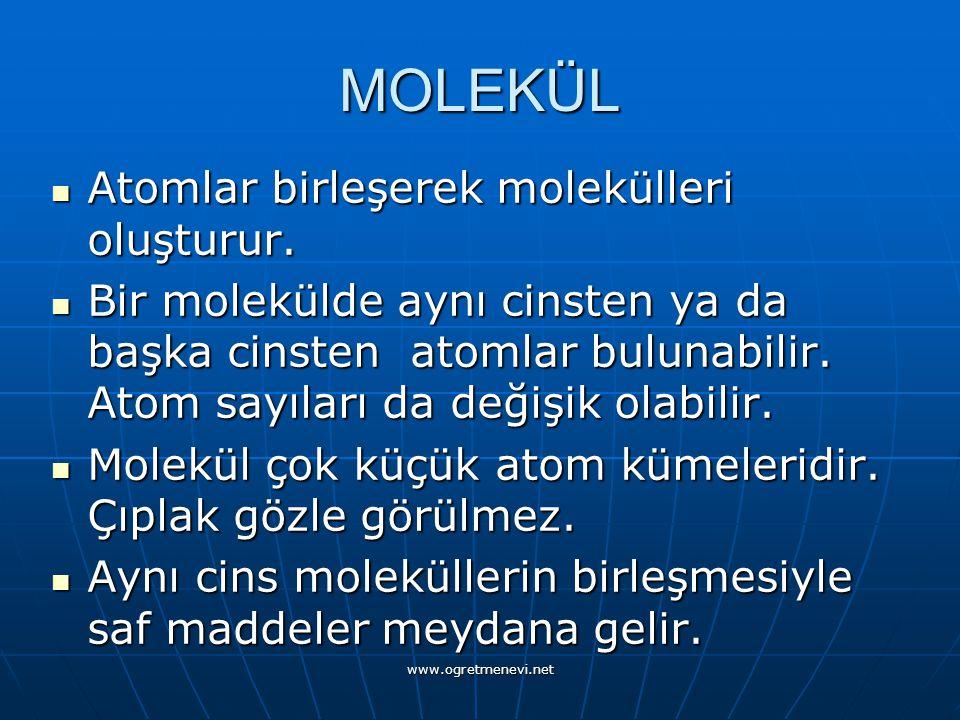 MOLEKÜL Atomlar birleşerek molekülleri oluşturur.