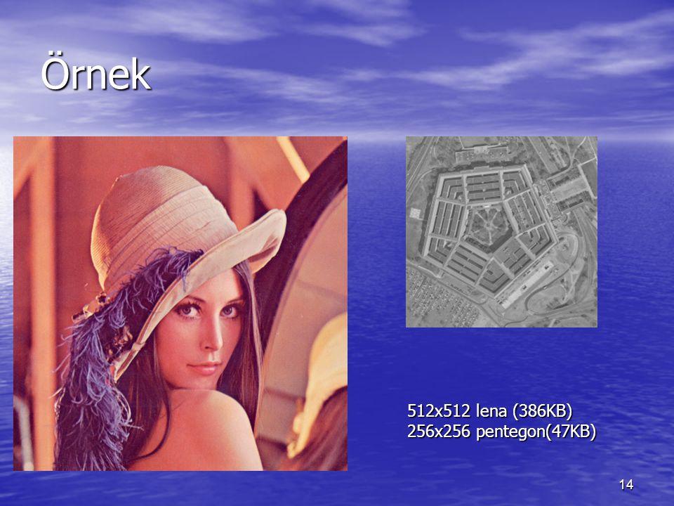 Örnek 512x512 lena (386KB) 256x256 pentegon(47KB)