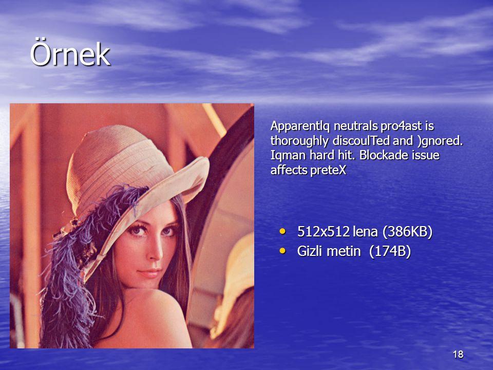 Örnek 512x512 lena (386KB) Gizli metin (174B)