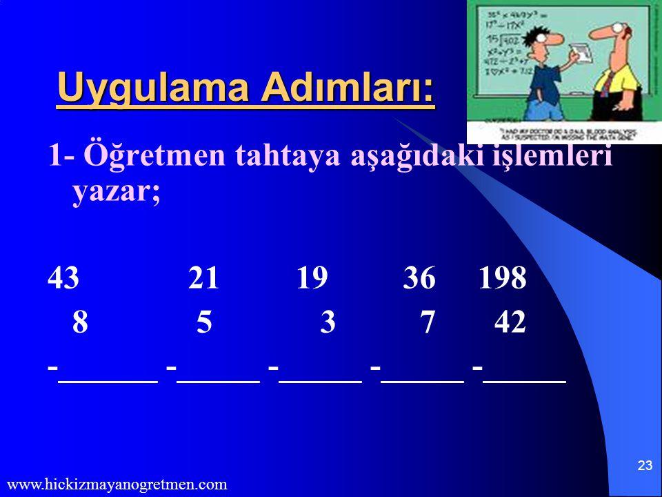 Uygulama Adımları: 1- Öğretmen tahtaya aşağıdaki işlemleri yazar;