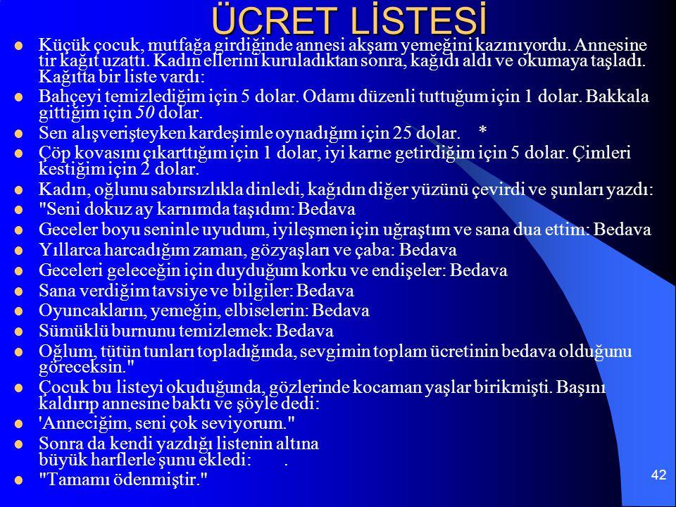 ÜCRET LİSTESİ